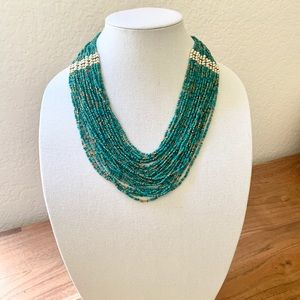 Turquoise multiple row statement necklace